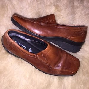 Ecco Light Brown Leather Loafer Shoes